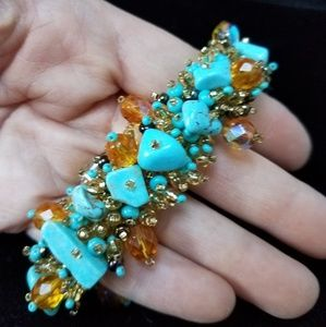 Jewelry - Turquoise and Amber Beaded Mesh Bracelet
